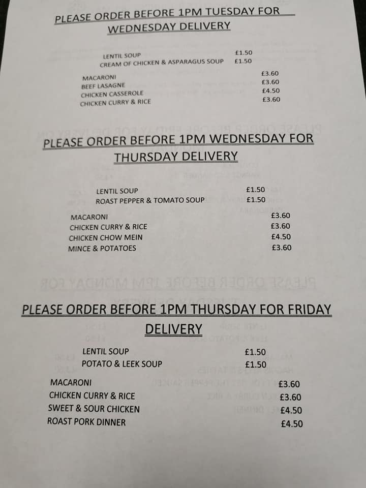 Menu for deliveries commencing the 18th May