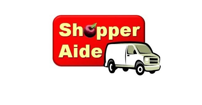 Shopper-Aide logo, red background, white whiting and white van image